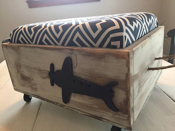 Navy Airplane Toy Box from belliesop | 'Celebrate with 8' for Get Organized Month | Bottom Left of the Mitten