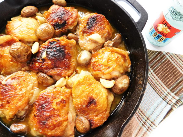Break out the cast iron skillet and enjoy this Skillet Chicken, Mushrooms & Garlic. This one-pan meal that is perfect for a great night in. | Bottom Left of the Mitten