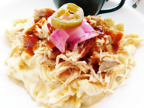Pulled Pork Mac and Cheese on a plate ready to eat.