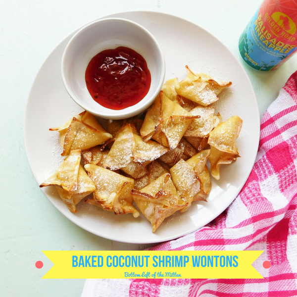 These Baked Coconut Shrimp Wontons have a creamy filling of shrimp and coconut is wrapped and then baked to crispy perfection in the oven. | Bottom Left of the Mitten