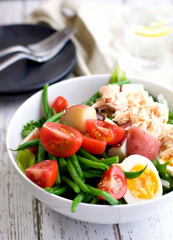 Easy Salad Niçoise from Pinch and Swirl | Celebrate with 8 National Salad Month | Bottom Left of the Mitten