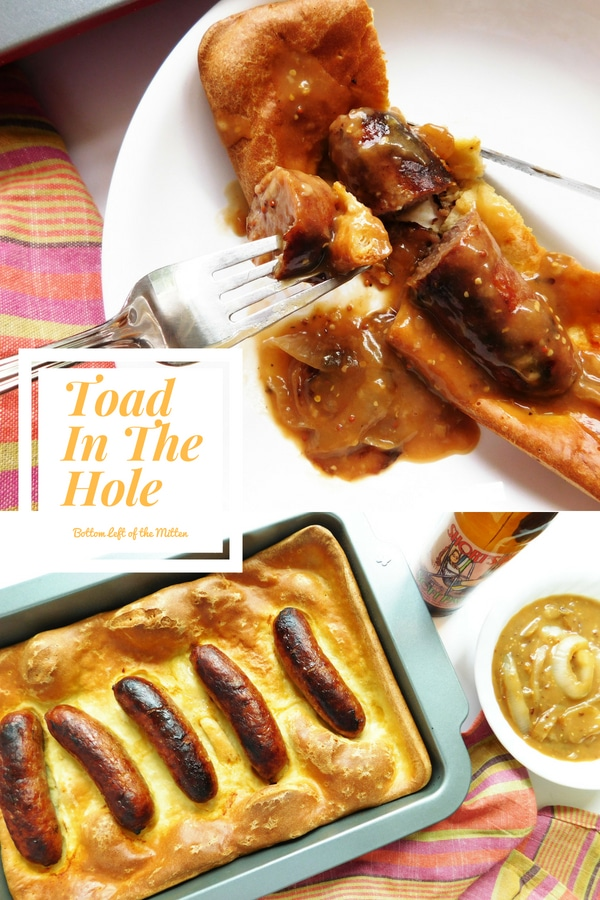 I tried my hand at a classic English dish, Toad In The Hole.  Savory sausage is baked on top of a simple bread 'pudding'.  Top with an onion gravy and you have a meal fit for a King.  #toadinthehole #englishfood #beerandfoodpairing #sausages #gravy #oniongravy #dinnertime