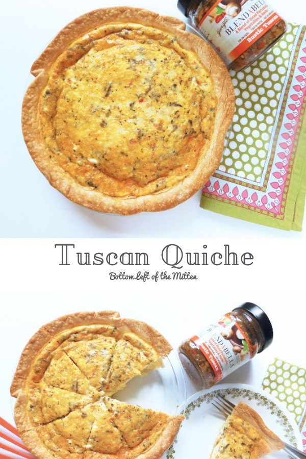 This Tuscan quiche starts with a crispy crust with a savory Tuscan filling made easier by using Rustic Tuscan BLENDABELLA. A tasty way to start to the day. #BLENDABELLA #rustictuscan #breakfast #tuscan #quiche #quicherecipe #eggrecipe