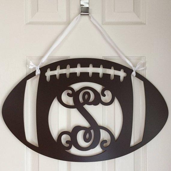 Monogram Football Door Hanger from AdoreYourDoorDecor | Celebrate with 8 for Game Day | Bottom Left of the Mitten