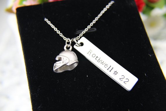 Football Necklace from LeBuaJewelrytoo | Celebrate with 8 for Game Day | Bottom Left of the Mitten
