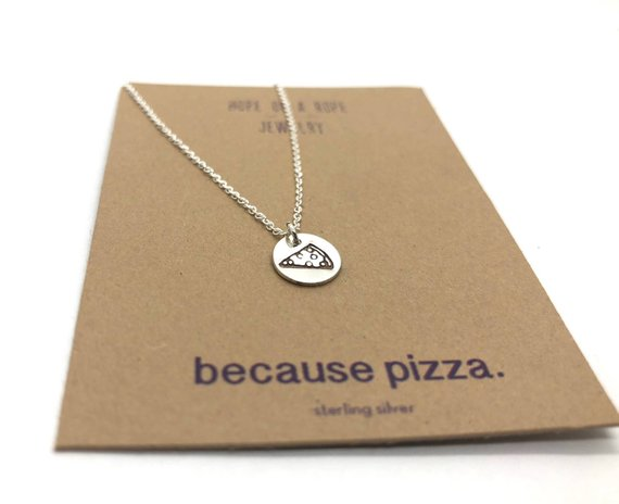 Pizza Necklace from hopeonaropejewelry | Foodie Gift Guide | Bottom Left of the Mitten