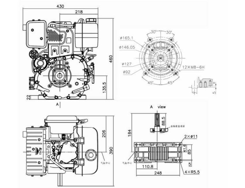 Loncin D440FD 10Hp Diesel Stationary Engine Hatz Yanmar