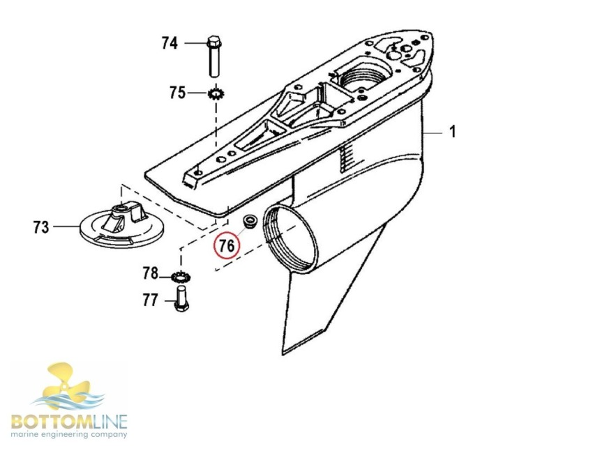 Genuine MerCruiser Alpha Lower Gear casing mounting nut