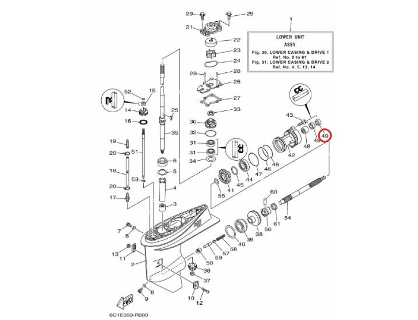 Genuine YAMAHA Outboard Propeller shaft oil seal F40 F50