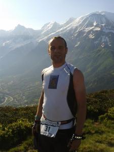 Damien au sommet du Prarion (le Mont Blanc est à droite sur la photo!)