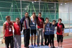Le podium des minimes garçons avec pour le BOUC, de gauche à droite, Thomas, Iliam, Kikounet et Arthur