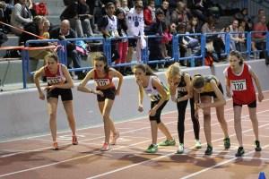 Marion et Romane sur la ligne de départ du 1000m dont elles prendront les 2nde et 3ème places