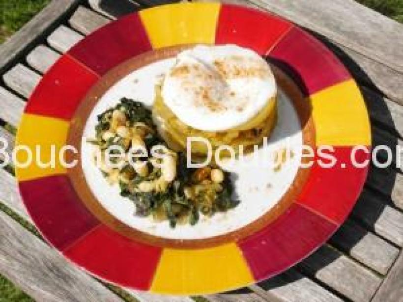 Dressage assiette des côtes de blettes accompagnées d'un oeuf poché. MiaM !