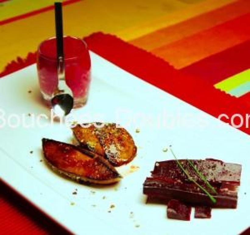 Escalopes de foie gras et farandole de betteraves