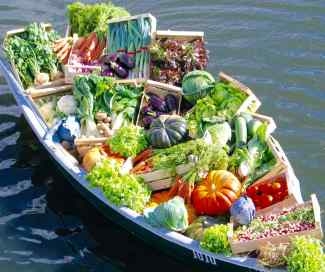 Barque remplie de légumes. Aliments alcalins