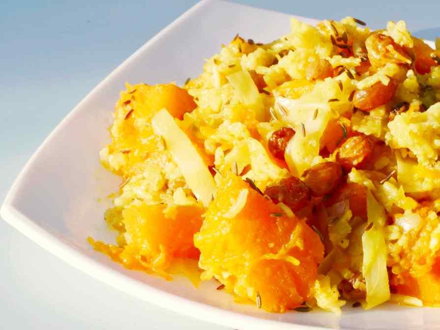 Recette acido basique - courge, chou, raisin et riz basmati