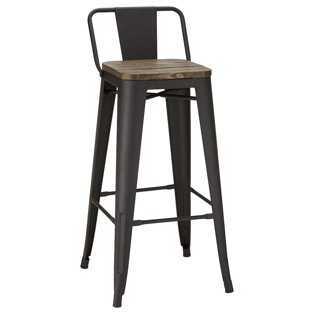 Metal Chairs Solid Elm Wood And Metal Bar Stool
