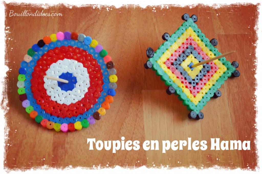 DIY  des Toupies en perles  repasser Hama