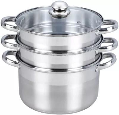 cocotte marmite essentielb vapeur inox diam 24 cm 3 paniers boulanger