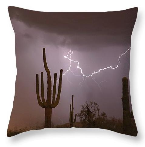 "Saguaro Southwest Desert Lightning Air Strike Throw Pillow 20"" x"