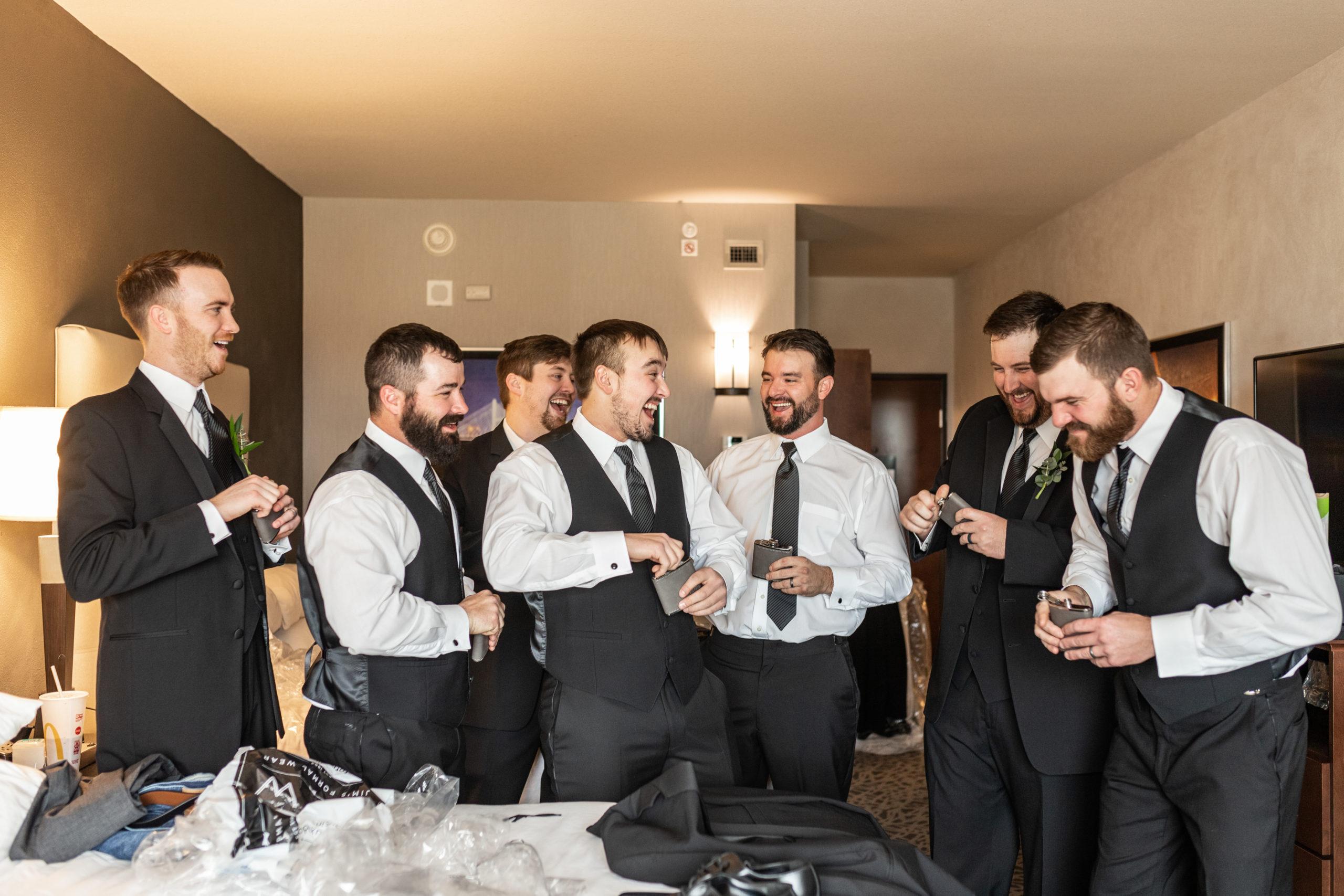 laughing groomsman