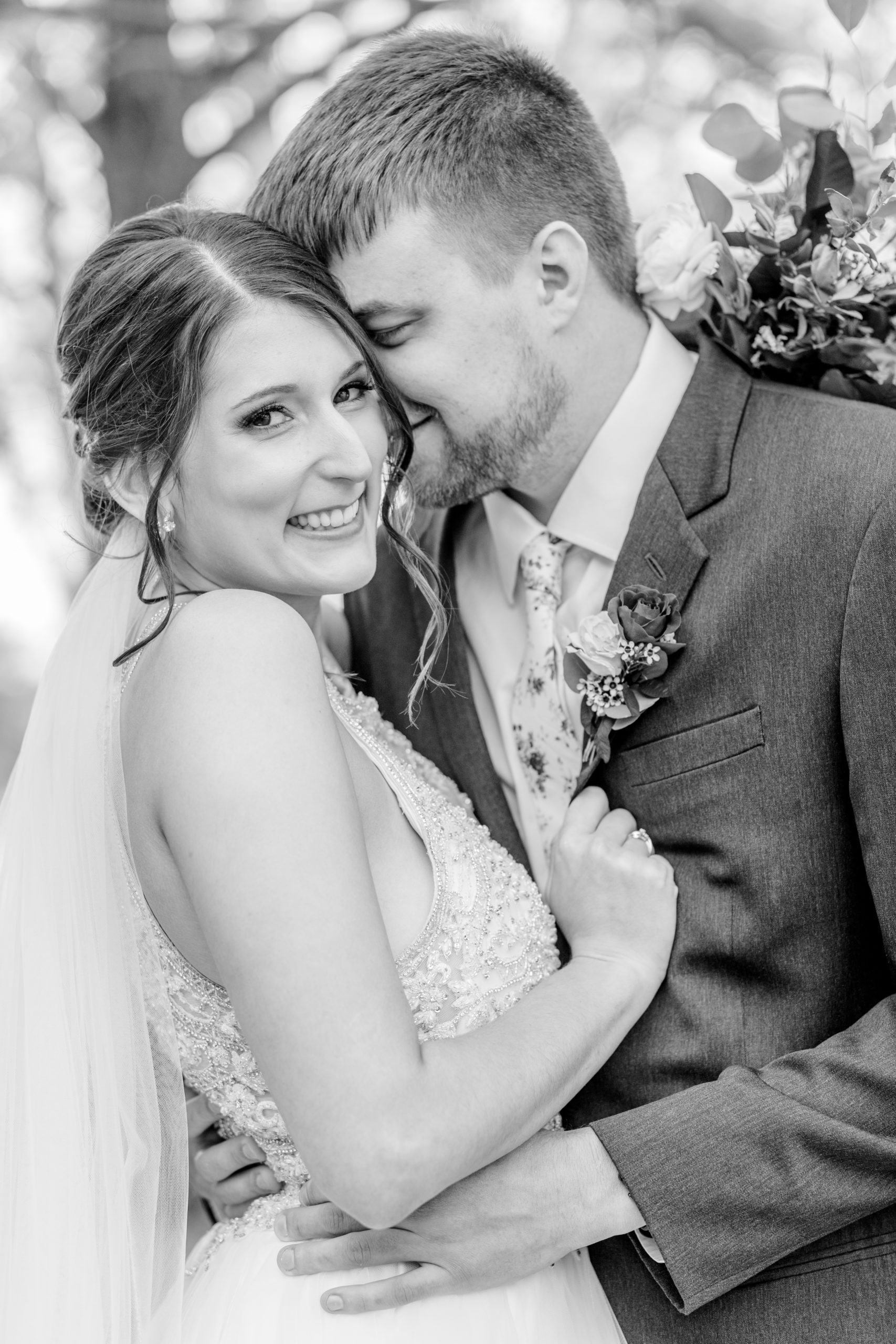 bride and groom, black and white, close up, bride's smile, southern illinois photographer