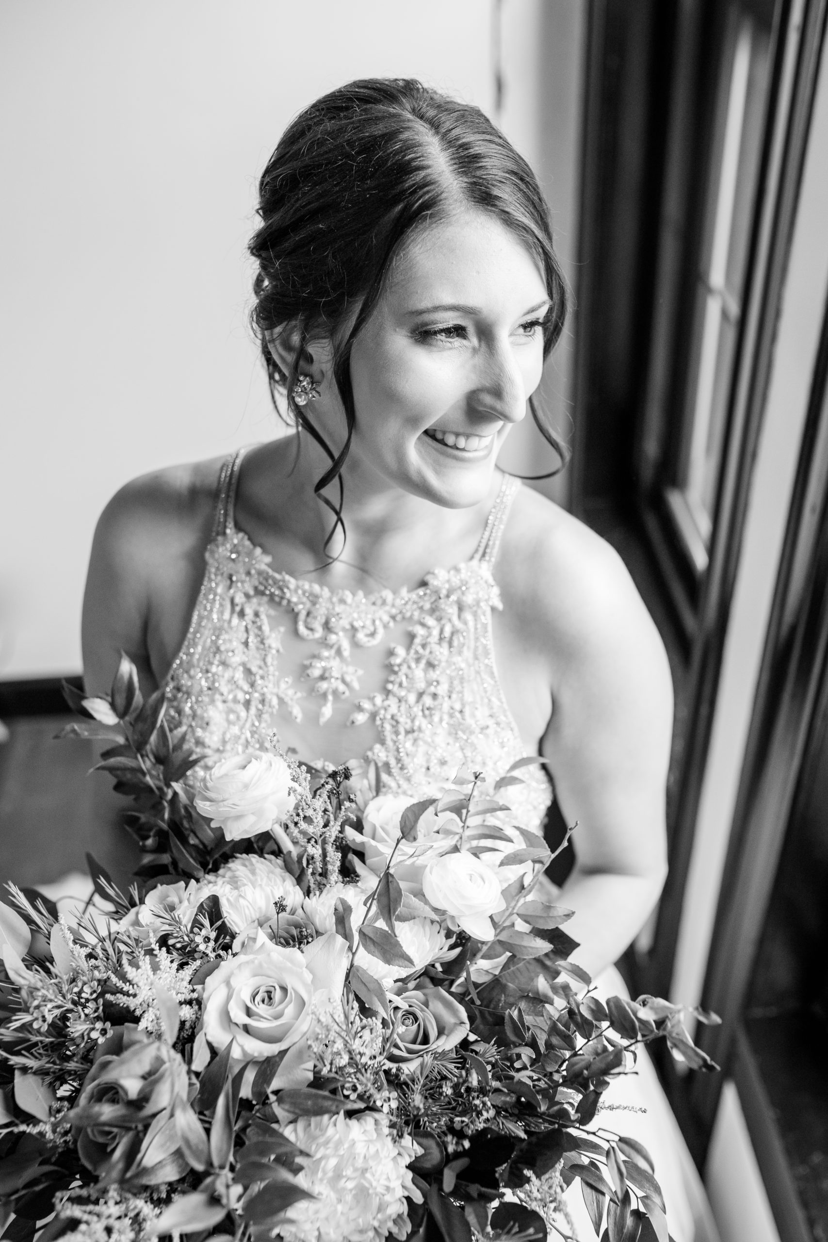 black and white, happy bride, southern illinois photographer