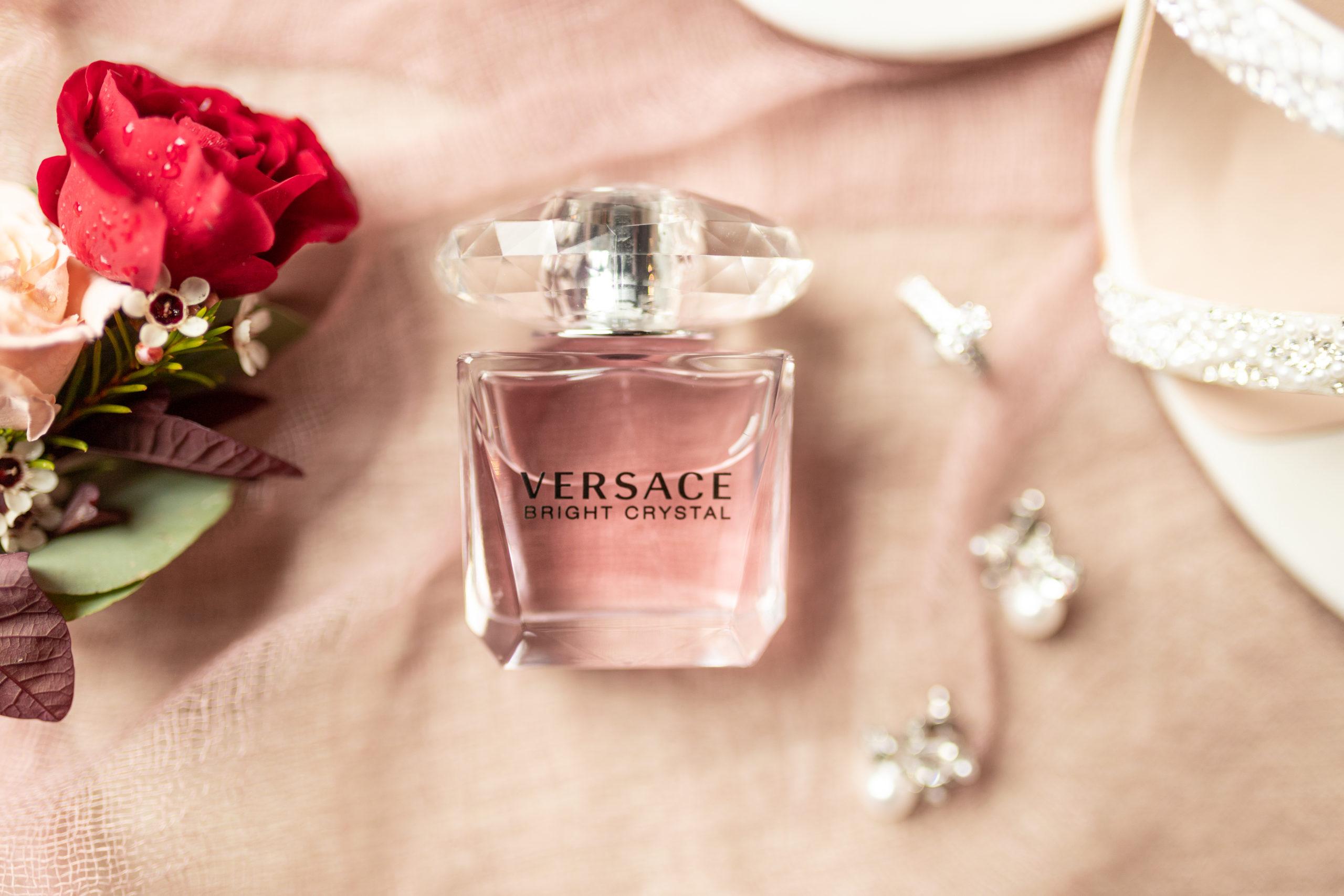 wedding details, versace perfume, diamond earrings, rusty pink, southern illinois photography