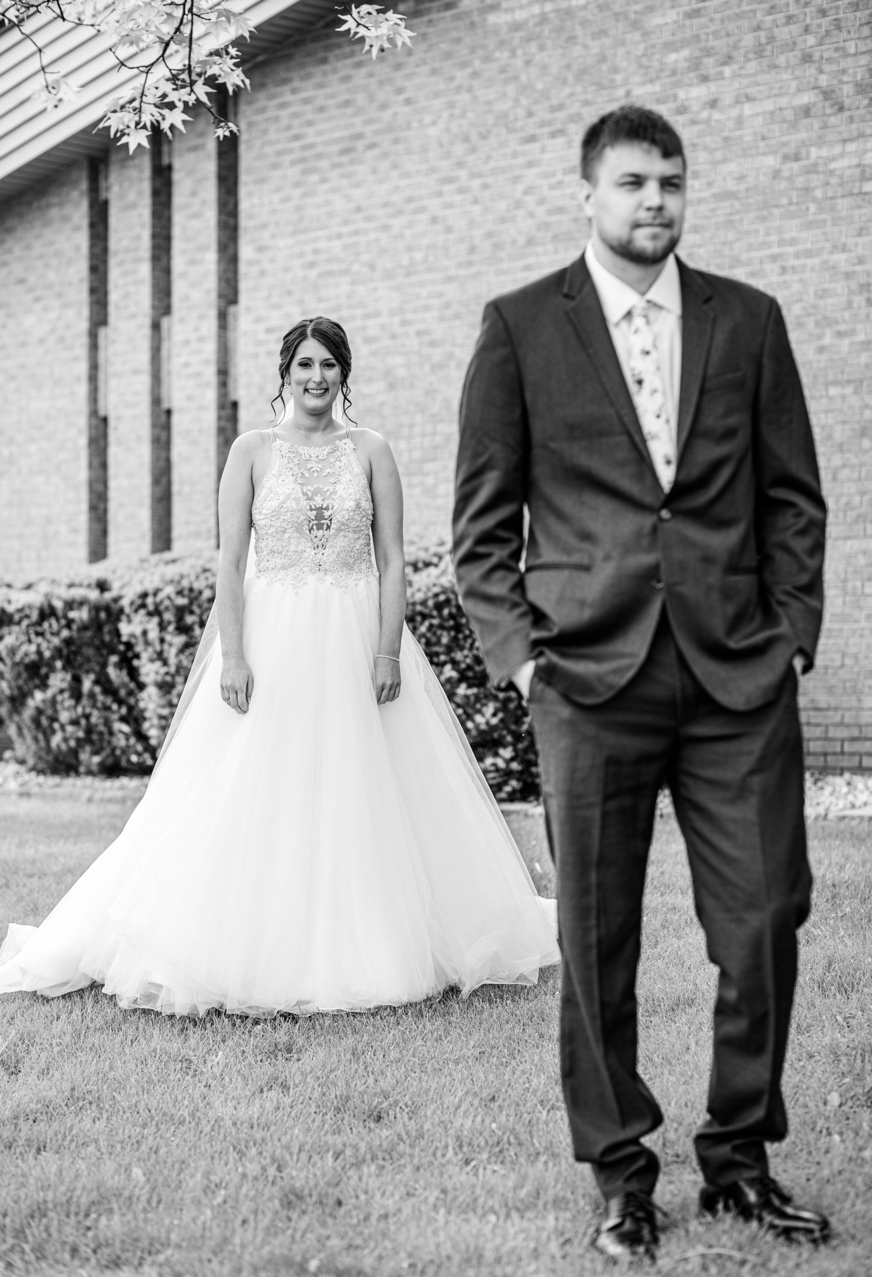 first look, black and white, bride and groom, bride and groom, pine tree forestsouthern illinois photography