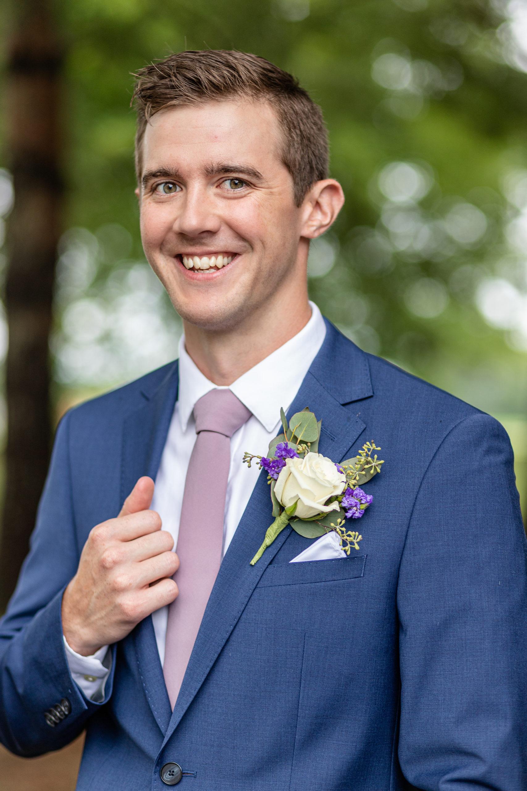 wedding photography, groom in blue tux, woodland wedding, summer romance wedding, lakeside wedding, purple wedding accents