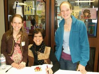 Author Jacqueline Dembar Greene with two young fans