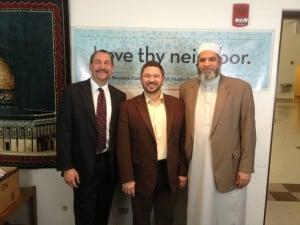 From left to right:  Rabbi Joe Black (ADL Board Member and Senior Rabbi of Temple Emanuel); Jeremy Shaver (Executive Director of Interfaith Alliance of Colorado); and Imam Karim Abuzaid (Imam of Colorado Muslim Society)