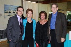 (l. - r.) JCC Director Jonathan Lev, Menorah President Susan Litt, Honorees Barbara and Tom Trager.
