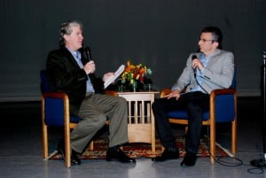 Ron Bostwick (l) interviewing Argo Producer David Klawans (r).