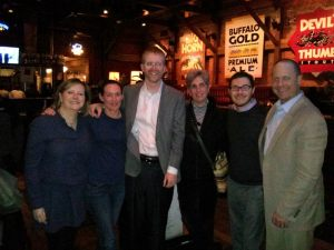 Susan Rona, Kellie Zell, Scott Peppet, Linda Loewenstein, Exec. Dir. Jonathan Lev and Mark Rich celebrate after the City Council meeting.