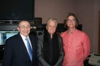 Richard Trank, right, with actor/narrator Michael Douglas, and Rabbi Marvin Hier, dean and founder of the Simon Wiesenthal Center, its Museum of Tolerance and Moriah Films.