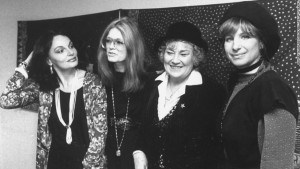 (L-R) Diane Von Furstenberg, Gloria Steinem, Bella Abzug and Barbra Streisand at a benefit for Women USA in Streisand's honor. (Photo by David Mcgough/DMI/Time Life Pictures/Getty Images)