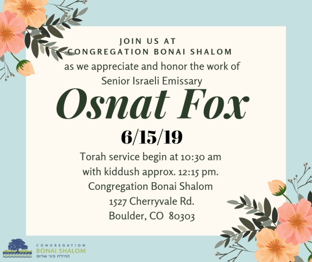 Say Thank You And Farewell to Israeli Emissary Osnat Fox