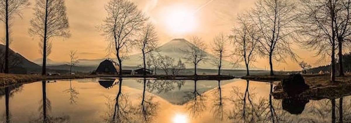 golden japanese sunrise over lake