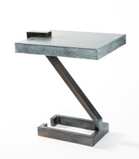 Z Accent Table with Hammered Zinc Top - Boulevard Urban Living