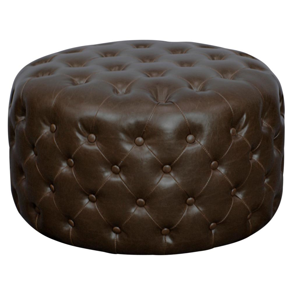 lulu round bonded leather tufted ottoman vintage dark brown