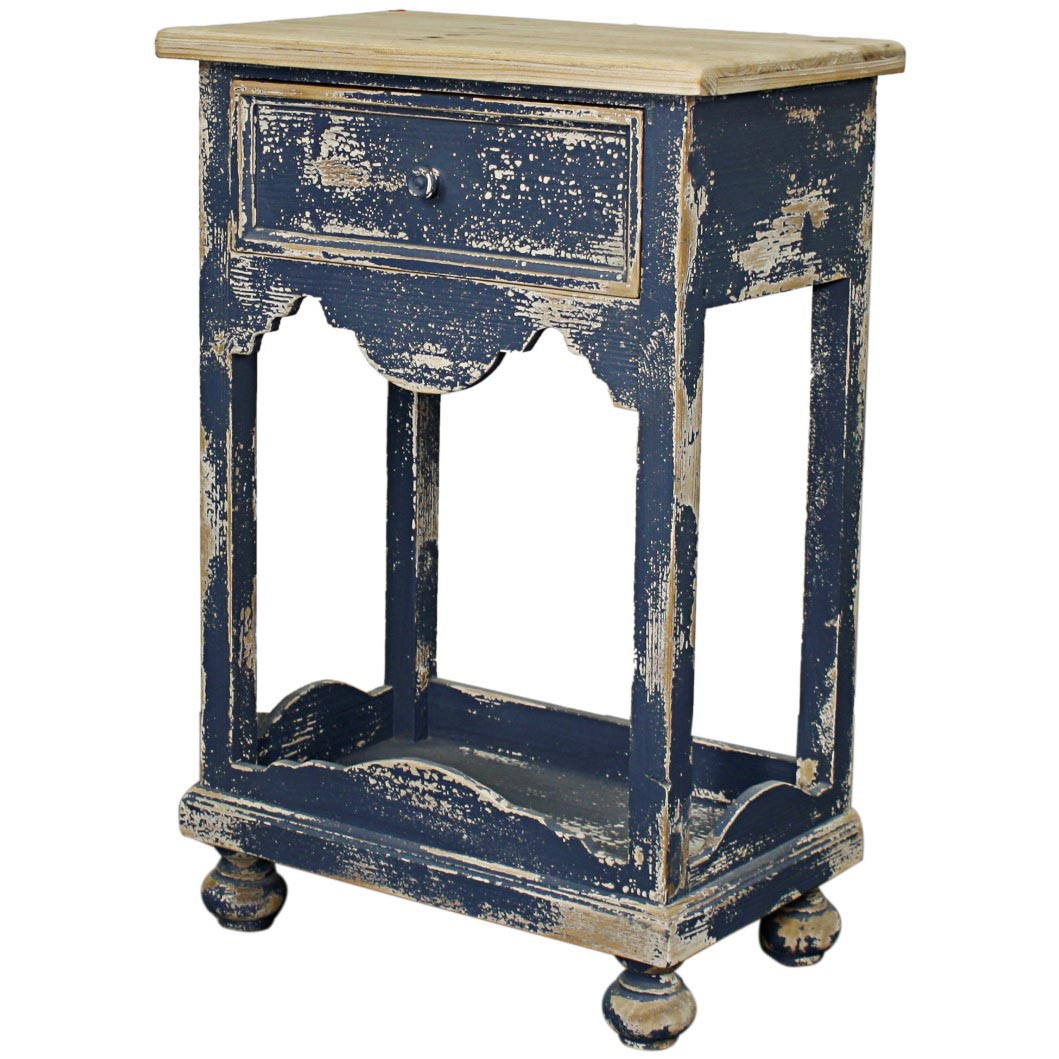 tuscany end table 1 drawer distressed blue