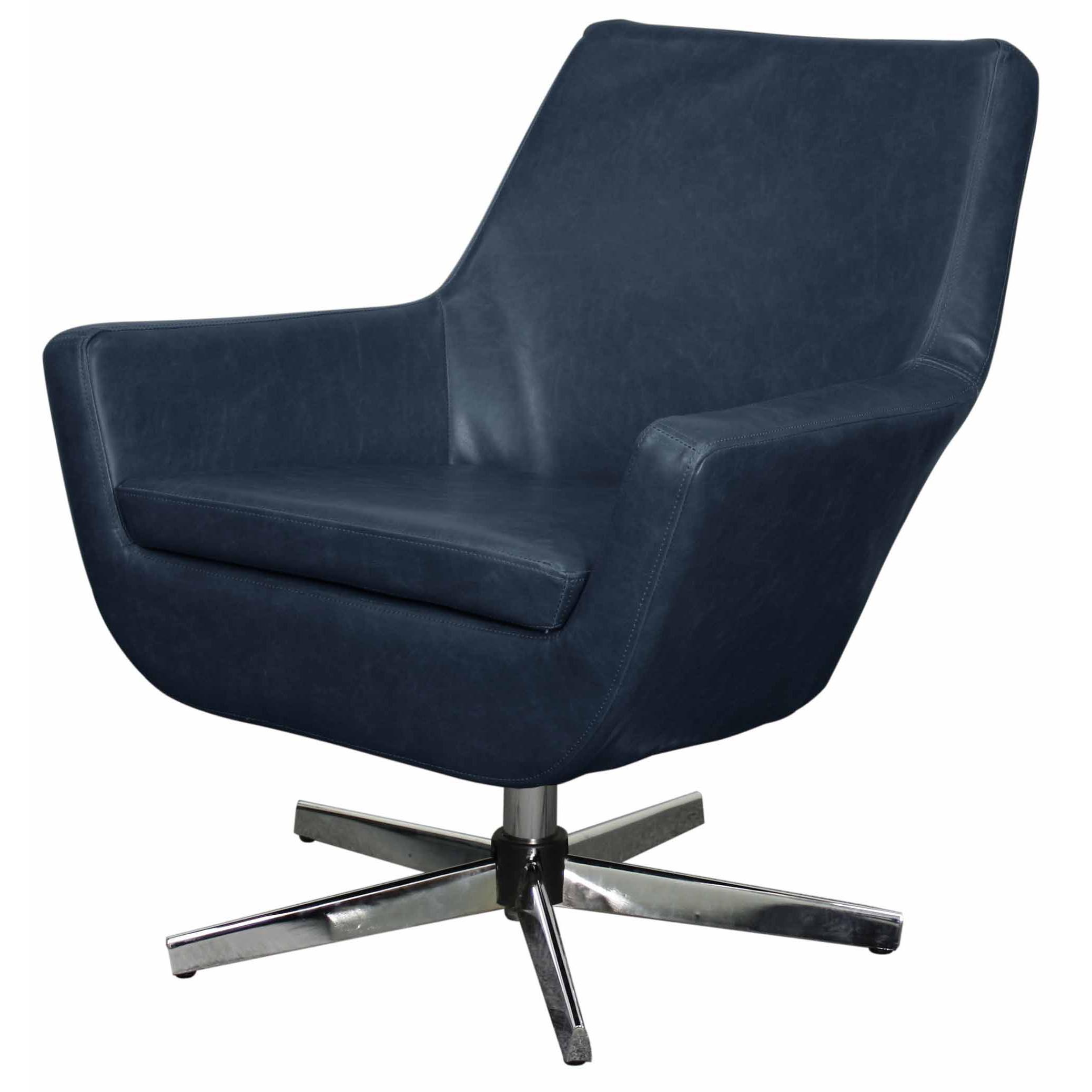 Vintage Swivel Chair Zelda Pu Swivel Chair Chrome Steel Legs Vintage Blue