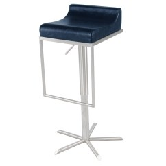 Zac Swivel Chair Diy Mat For Hardwood Floor Pu Premium Gaslift Bar Stool Vintage Blue Boulevard
