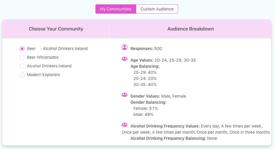Screenshot of the community selection feature on the Bounce Dashboard