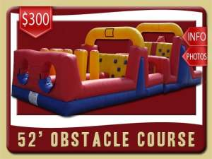 52' Obstacle Course Rental, Inflatable, Blue, Red, Yellow