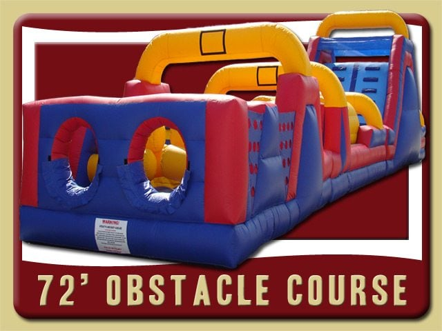72' Obstacle Course Inflatable Rental Deltona Blue Red Yellow