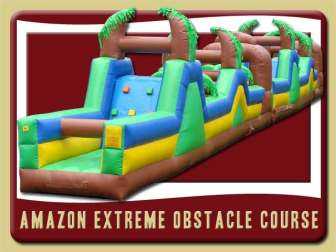 amazon obstacle course tropical inflatable rental deland brown green yellow