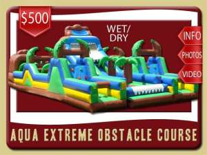 Aqua Extreme Obstacle Course Water Slide Rental, Wet, Inflatable, Rock Wall, Brown, Green, Brown