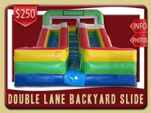 Double Lane Water Slide Rental, Inflatable, Green, Blue, Yellow, Red